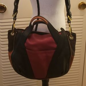 Oryany Color Block Hobo Leather Shoulder Hand Bag
